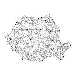 Map of romania from polygonal black lines and dots vector