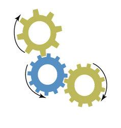 Mechanism gears icon vector