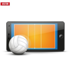 Mobile phone with volleyball ball and field on the vector image