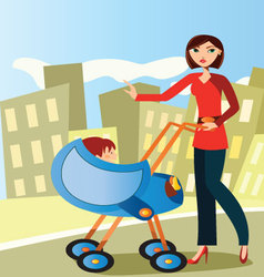 mom-with-baby-stroller vector image