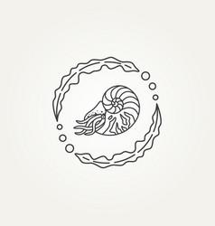 Nautilus seashell and seaweed line art icon logo vector