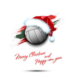 New year and volleyball ball in santa hat vector
