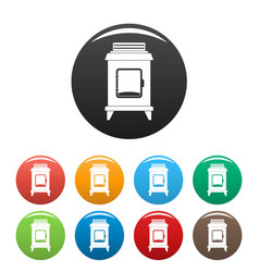 Old oven icons set color vector
