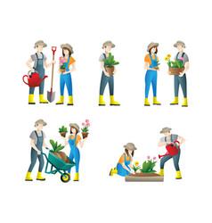 people gardening set flat people doing vector image