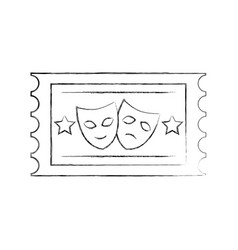 postal seal with theater masks isolated icon vector image
