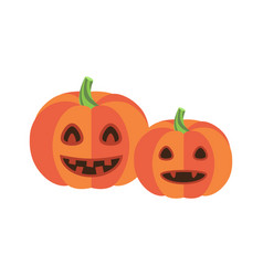Pumpkins with triangular eyes and sharp canines vector