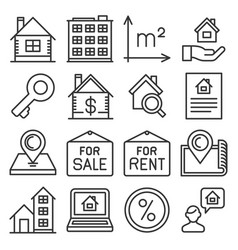 Real estate icons set on white background line vector