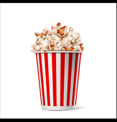realistic popcorn in striped bucket box vector image