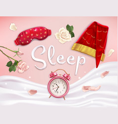 realistic sleeping accessories composition vector image