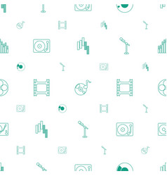 Record icons pattern seamless white background vector
