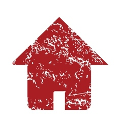 Red grunge home logo vector