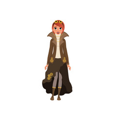 red-haired steampunk woman young girl in blouse vector image