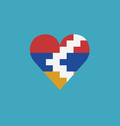 republic of artsakh flag icon in a heart shape in vector image