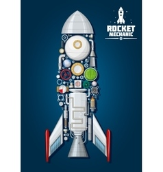 Rocket with detailed engine parts body structure vector
