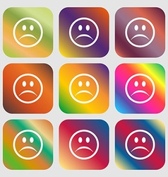 Sad face Sadness depression icon Nine buttons with vector