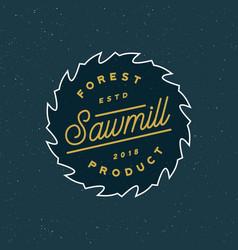 Sawmill logo retro styled woodwork emblem vector