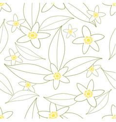 Seamless pattern of orange blossom flowers vector