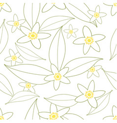 seamless pattern orange blossom flowers vector image