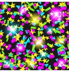 Seamless pattern with colourful sparlking confetti vector