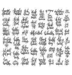 Set of 50 hand lettering inscriptions about vector