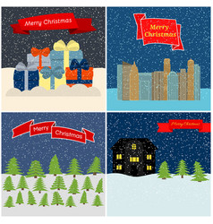 set of four merry christmas vector image