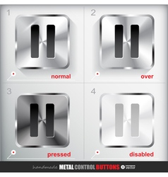 Set of four positions of Circle Metal Pause Button vector image