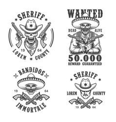 Set of sheriff and bandit emblems vector