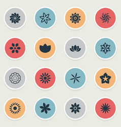 Set of simple flower icons vector