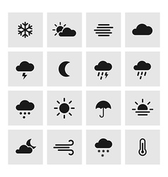 Set of weather forcast flat icons on square vector image