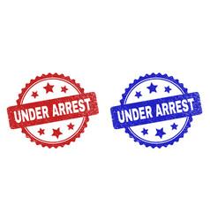 Under arrest rosette stamps using grunge surface vector