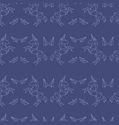 unicorn in origami polygonal style seamless vector image