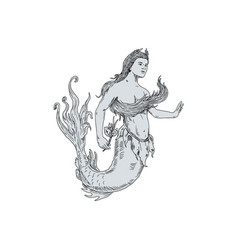 vintage mermaid holding flower drawing vector image