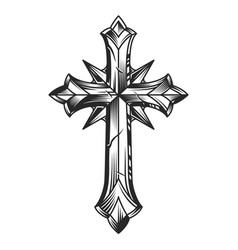 Vintage religious original cross template vector