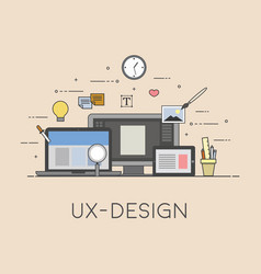 Web and mobile design ux-design process of vector