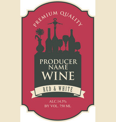 wine label with a silhouette a still life vector image