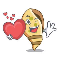 with heart sea shell mascot cartoon vector image