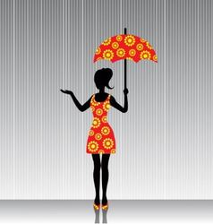 woman with an umbrella in a bright dress vector image