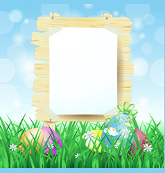 wooden sign and easter eggs on spring background vector image