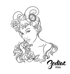 Zodiac of aries as girl isolated on vector