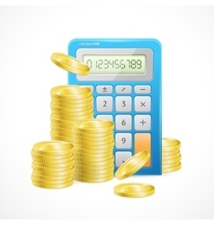 Blue Calculator and stacks of golden coins vector image