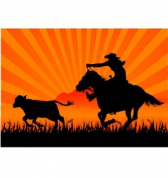 riding cowboy vector image