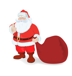 santa claus with a big bag vector image vector image
