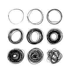 Set of nine hand drawn scribble circles on white vector image