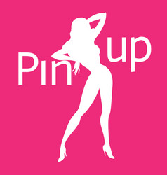 Silhouette of pin-up sexy girl on pink background vector