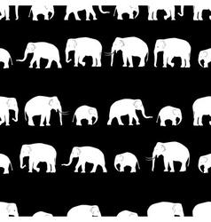 White elephants walking black pattern vector