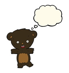 Cartoon teddy black bear cub with thought bubble vector