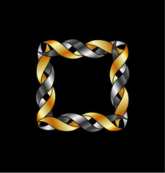 Gold and silver frame over black vector image
