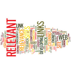 Link relevance text background word cloud concept vector