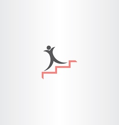 man on stairs success icon vector image