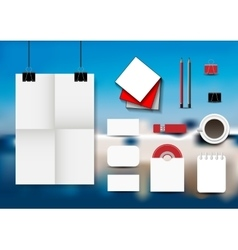 Stationery set on an abstract blue background vector image vector image